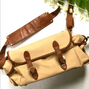 Vintage canvas and leather camera bag